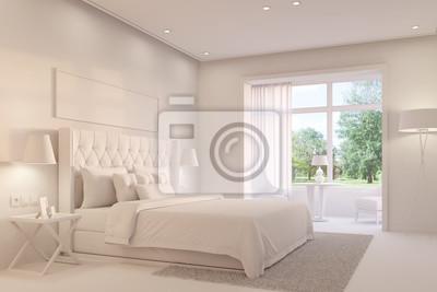 Weißes schlafzimmer mit doppelbett fototapete • fototapeten ...