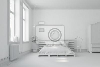 Weißes schlafzimmer mit palettenbett fototapete • fototapeten ...