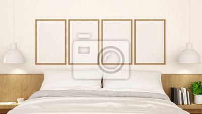 Weißes schlafzimmer mit rahmen sauberes design - 3d rendering ...
