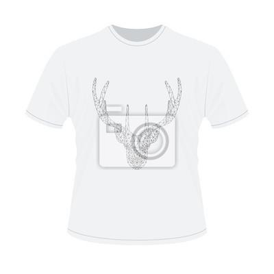 6ea7efa6a61f31 Weißes t-shirt mit polygonalem haed der rotwild fototapete ...