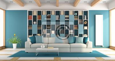 Weißes und blaues großes wohnzimmer fototapete • fototapeten ...