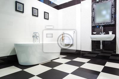 Weisses Und Schwarzes Badezimmer Fototapete Fototapeten Karomuster