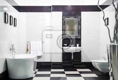Schwarzes Badezimmer | Weisses Und Schwarzes Badezimmer Fototapete Fototapeten Karomuster