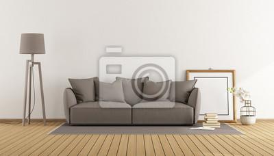 Fototapete Weißes Zimmer Mit Braunem Sofa