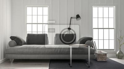 Weite couch in minimalistischen design wohnzimmer fototapete ...