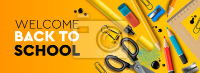 Fototapete Welcome Back to school horizontal banner. First day of school, pencils and supplies on yellow background, vector illustration.