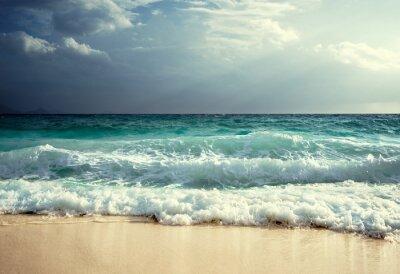 Fototapete Wellen auf Seychellen Strand