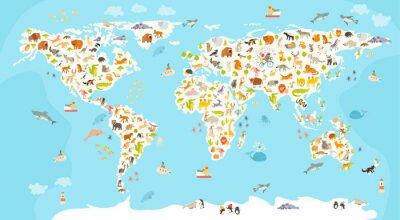 Fototapete Welt-Säugetier-Karte. Schöne fröhliche bunte Vektor-Illustration für Kinder und Kinder. Vorschule, Baby, Kontinente, Ozeane, gezeichnet, Erde