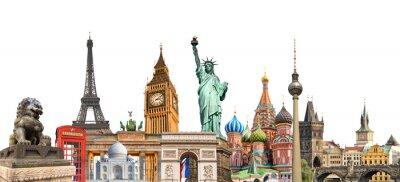 Fototapete Welt Wahrzeichen Foto Collage isoliert auf weißem Hintergrund, Reisen, Tourismus und Studie rund um die Welt Konzept