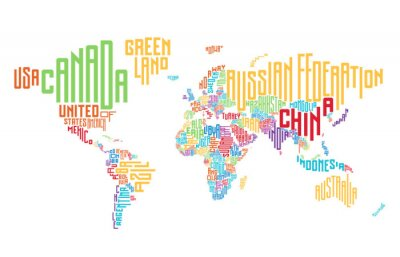Fototapete Weltkarte aus typografischen Landnamen gemacht