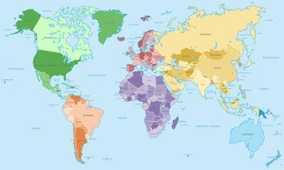 Fototapete Weltkarte - einzelne Kontinente in Farbe (hoher Detailgrad)