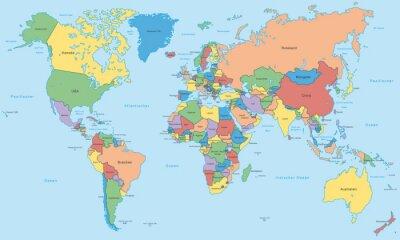 Weltkarte Einzelne Länder In Farbe Hoher Detailgrad Fototapete