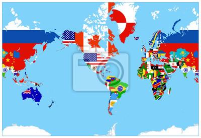 Weltkarte Flaggen Auf Einem Blauen Hintergrund Amerika In Der