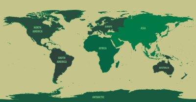 Fototapete Weltkarte Grün Mit Kontinent Namen