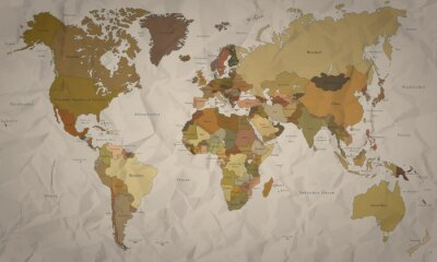Fototapete Weltkarte - Historische Karte mit Verlauf (hoher Detailgrad)
