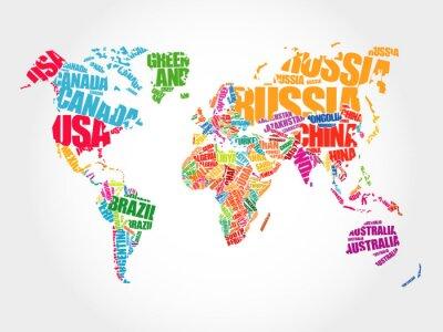 Fototapete Weltkarte in der Typografie Wort Wolke Konzept, Namen der Länder