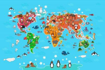 Fototapete Weltkarte mit Tieren. Affe und Igel, Bär und Känguruh, Hasenwolf Panda und Pinguin und Papagei. Tiere Weltkarte Vektor-Illustration in Cartoon-Stil