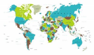 Fototapete Weltkarte Politisch Blau Grün Grau Vektor