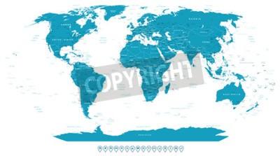Fototapete Weltkarte und navigation icons - illustration.