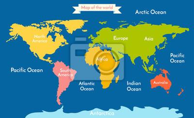 Weltkarte. Vektor-Illustration mit der Inschrift der Ozeane und Kontinente. Kontinente verschiedene Farben.