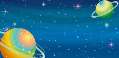 Fototapete Weltraum-Szene mit zwei Planeten