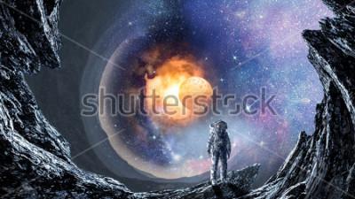 Fototapete Weltraumloch und Astronaut. Gemischte Medien
