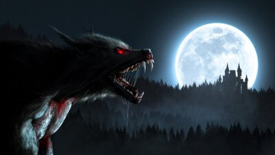 Fototapete Werewolf growl in the moonlight over a full moon in the forest with a gothic house - concept art - 3D rendering
