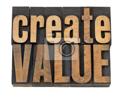 Wert schaffen Text in Holzart