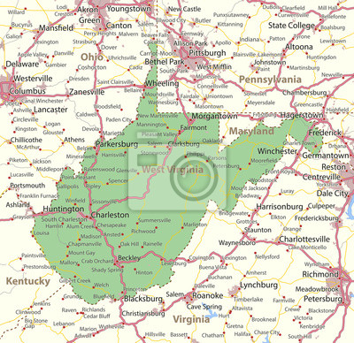 West virginia-us-staaten-vectormap-a fototapete ...