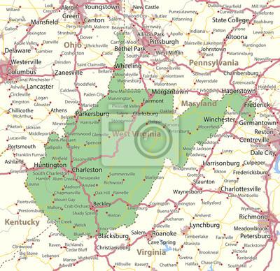 Fototapete: West virginia-us-staaten-vectormap-a