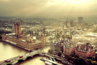 Fototapete Westminster-Luftaufnahme mit Themse- und London-Stadtbild.