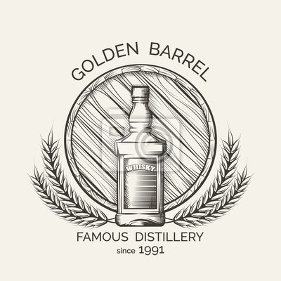 Whisky-brennerei-emblem. vector whisky-produktion logo-vorlage ...