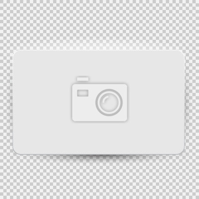 Fototapete White blank credit or gift card model template top view with shadow isolated on transparent background. Vector Illustration