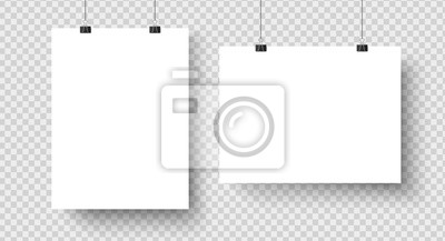 Fototapete White blank posters hanging on binders. A4 paper page, sheet on wall. Vector mockup