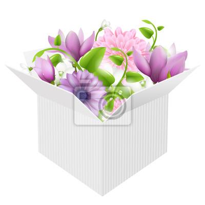 White Box Mit Frühlingsblumen