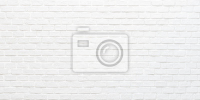 Fototapete White brick wall texture background for stone tile block painted in grey light color wallpaper modern interior and exterior and backdrop design