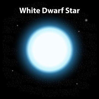 White dwarf star in dark space background