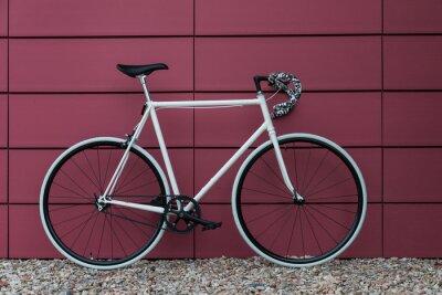 Fototapete White fixie bike in pink wall
