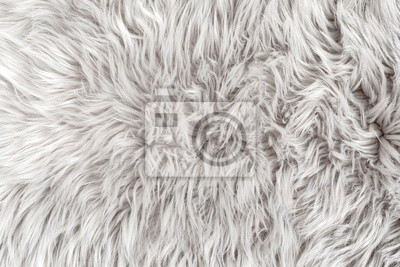 Fototapete White fur for background or texture. Fuzzy white fur plaid. Shaggy blanket background. Fluffy fake textile fur. Flat lay, top view, copy space