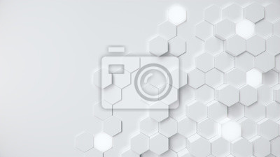 Fototapete White geometric hexagonal abstract background. Surface polygon pattern with glowing hexagons, hexagonal honeycomb. Abstract white self-luminous hexagons. Futuristic abstract background 3D Illustration