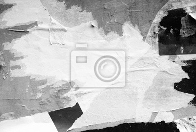 Fototapete White paper ripped torn background blank creased crumpled posters placard grunge textures surface backdrop / Space for text