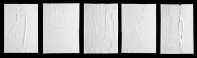 Fototapete white paper wrinkled poster template , blank glued creased paper sheet mockup.white poster mockup on wall. empty paper mockup. clipping path