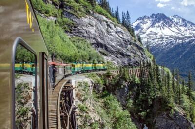 Fototapete White Pass Yukon Route Railroad fährt entlang der Klippen Richtung Skagway, Alaska