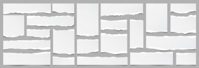 Fototapete White ripped paper strips collection. Realistic paper scraps with torn edges. Sticky notes, shreds of notebook pages. Vector illustration.