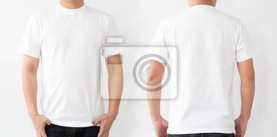 Fototapete White T-Shirt front and back, Mockup template for design print