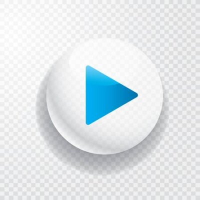 Fototapete white transparent play button with blue arrow