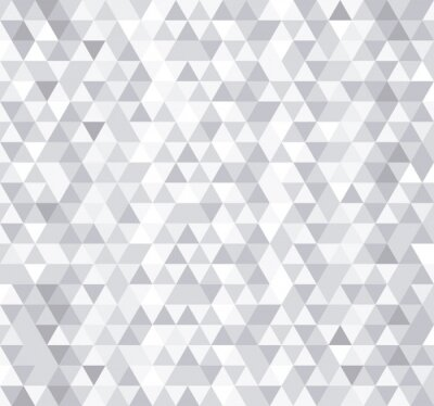 Fototapete White triangle tiles seamless pattern, vector background.