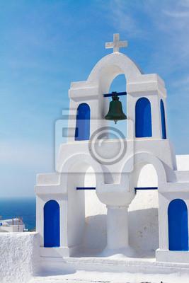Fototapete white with blue belfry, Santorini island, Greece