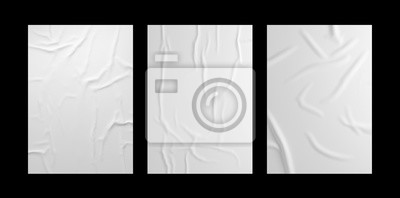 Fototapete White wrinkled poster template set. Isolated glued paper mockup.