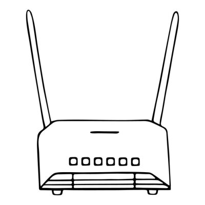 Wi-Fi router. Device for wireless user connection to the Internet with two antennas. Vector illustration. Contour on an isolated white background. Doodle style. Sketch.